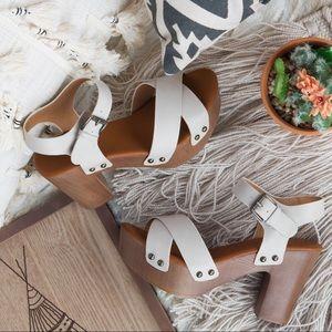 Shoes - 🆕 Beige X-Band Chunky Heels